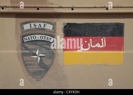 Afghanistan war, markings on a military vehicle of the Bundeswehr, German Army, Mazar-e Sharif, Balch, Afghanistan, - Stock Photo