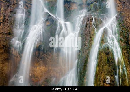 Waterfall in autumn, Plitvice Lakes National Park, Croatia, Europe - Stock Photo