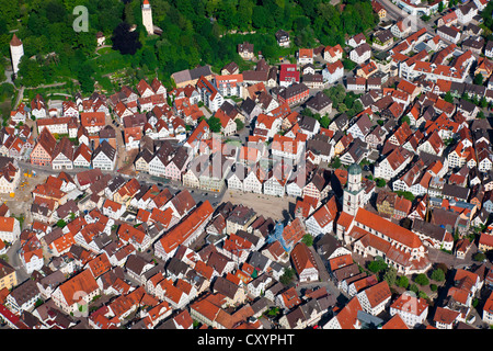 Aerial view, historic town center with Gigelberg Castle, White Tower, Parish Church of St. Martin, Biberach an der - Stock Photo
