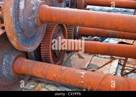 Old rusty iron wheel in a railway workshop in Rijeka, Croatia, Europe - Stock Photo