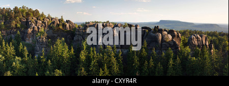 View from Carola Rocks near the Affensteine Rocks in the Elbe Sandstone Mountains, Saxony - Stock Photo