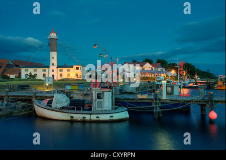 The Harbor and the lighthouse, Timmendorf, Poel Island, Baltic Sea, Mecklenburg-Western Pomerania - Stock Photo