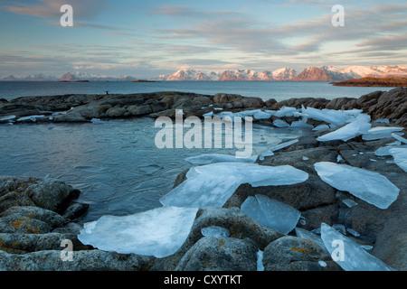 Winter setting at the coast of the archipelago of the Lofoten Islands, Henningsvaer, Norway, Europe, PublicGround - Stock Photo
