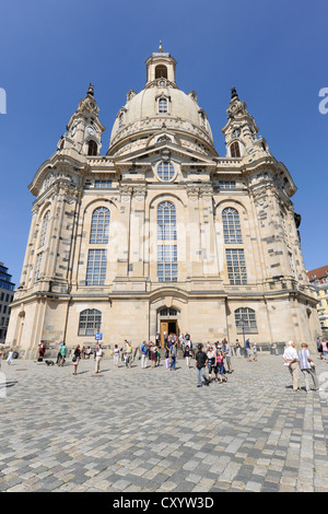 Frauenkirche, Church of Our Lady, Neumarkt square, Dresden, Saxony - Stock Photo