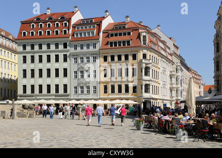 Neumarkt square at Frauenkirche, Church of Our Lady, Dresden, Saxony - Stock Photo