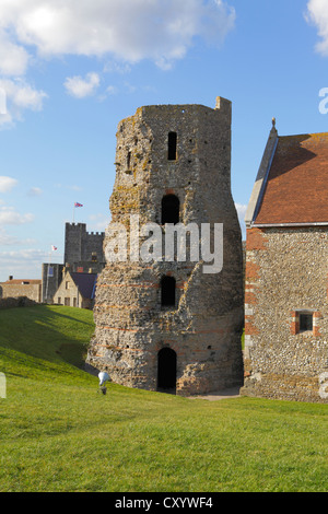 Roman Pharos Lighthouse Dover Castle Kent GB UK - Stock Photo