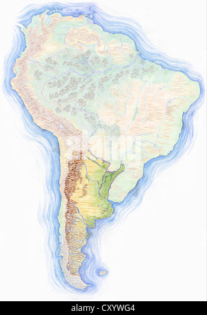 Highly detailed hand drawn map of argentina within the outline of highly detailed hand drawn map of south america with argentina highlighted stock photo gumiabroncs Images