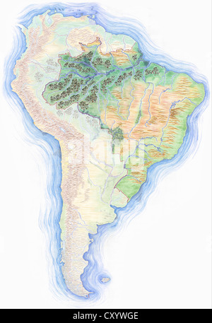 Highly detailed hand drawn map of south america with colombia highly detailed hand drawn map of south america with brazil highlighted stock photo gumiabroncs Choice Image
