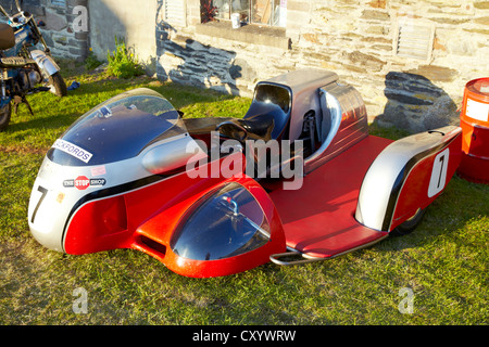 Motorcycle sidecar as used in TT races - Stock Photo