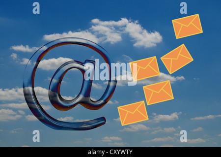 'At' symbol, mail icon, symbolic image for Cloud Computing, illustration - Stock Photo