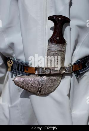 Khanjar, Traditionnal Knife Worn By Omani Men With Silver Sheath, Muscat Oman - Stock Photo