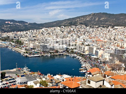 City of Kavala in Greece (aerial view). Famous summer resort - Stock Photo