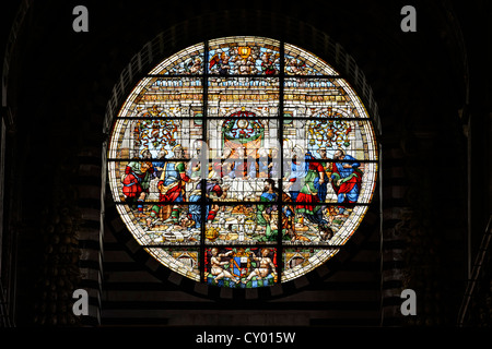 Interior view, rose window, Cathedral of Siena, Cattedrale di Santa Maria Assunta, main church of the city of Siena, - Stock Photo