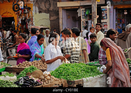 People at market stalls for vegetables, Bharatpur, Rajasthan, India, Asia, PublicGround - Stock Photo