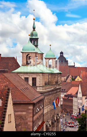Nuremberg, Germany, A view from Nuremberg castle of Town hall (Rathaus), Wolffscher Bau Building, Middle Franconia, - Stock Photo
