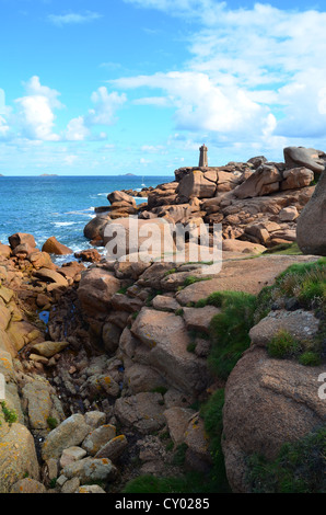 The lighthouse of Ploumanac'h, Cote de granit rose in North Brittany, France - Stock Photo