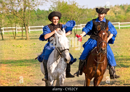 Hungary, Kalocsa, Csikos Hungarian horse riders. - Stock Photo