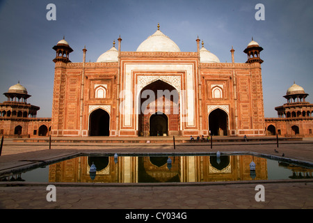 Red Sandstone Mosque, Taj Mahal, Agra, Rajasthan, India, Asia - Stock Photo