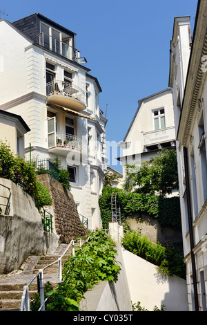 Stairs leading to the beach, Treppenviertel district in Blankenese, Hamburg - Stock Photo