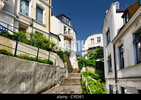 Stairs leading to the beach and the Treppenviertel district in Blankenese, Hamburg - Stock Photo