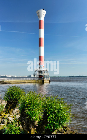 Lighthouse on the riverbank of the Elbe river, Blankenese district, Hamburg - Stock Photo