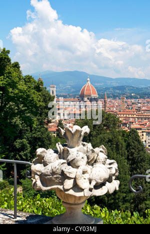 Panoramic view out over Florence, The Bardini Garden, Florence (Firenze), UNESCO World Heritage Site, Tuscany, Italy, - Stock Photo