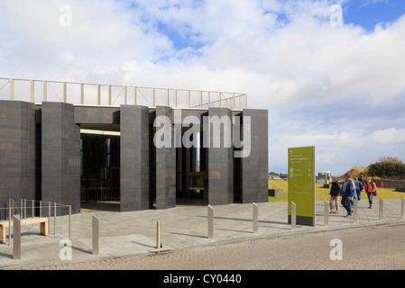 Visitors at the new Giant's Causeway visitor centre building near Bushmills, County Antrim, Northern Ireland, UK - Stock Photo