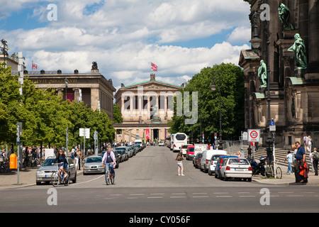 Am Lustgarten street, Schlossplatz square, Altes Museum, Old Museum, left, Alte Nationalgalerie, Old National Gallery - Stock Photo