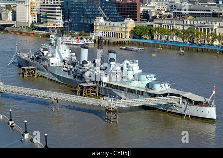 HMS Belfast originally a Royal Navy light cruiser  permanently moored in London on River Thames as part of Imperial - Stock Photo