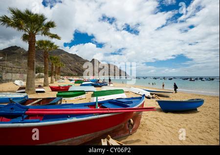 Boats on the beach, Playa de las Teresitas beach, San Andres, near Santa Cruz de Tenerife, Tenerife, Canary Islands, - Stock Photo