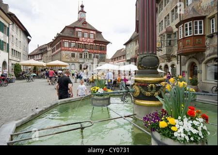 Market square, Stein am Rhein, Switzerland, Europe - Stock Photo