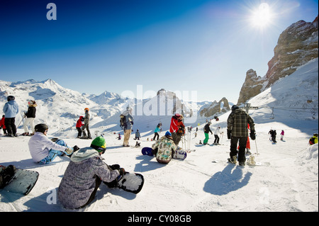 Skiing area, Aiguille Percee, Tignes, Val d'Isere, Savoie, Alps, France, Europe - Stock Photo