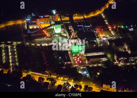 Aerial view, Zeche Zollverein colliery with coking plant, UNESCO World Heritage site, Extraschicht 2012, annual - Stock Photo