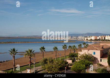Etang du Grazel and the Gruissan Beach Promenade in Aude, Languedoc Roussillon, France. - Stock Photo