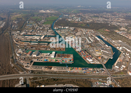 Aerial view, Dortmund harbour, Dortmund-Ems Canal, inland shipping, container terminal, Dortmund, Ruhr area - Stock Photo