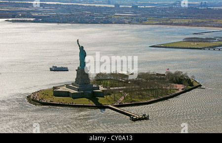 Aerial view, sightseeing flight, Statue of Liberty, Liberty Island, New York City, New York, United States, North - Stock Photo