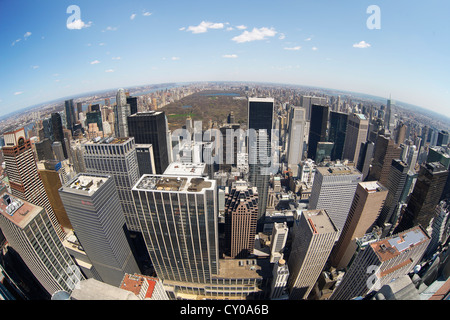 View from Rockefeller Center over the skyline with Central Park, New York City, New York, United States, North America - Stock Photo