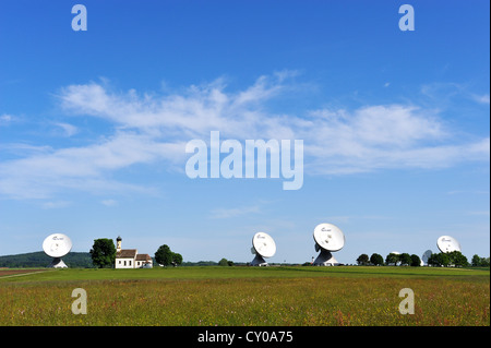 Raisting Satellite Earth Station with the chapel of St John, Pfaffenwinkel region, Five Lakes region, Upper Bavaria, - Stock Photo