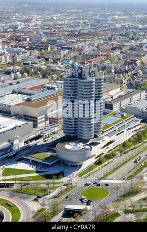 View from the TV tower, Olympiaturm tower to the BMW Headquarters, 'BMW four-cylinder', Munich, Bavaria - Stock Photo