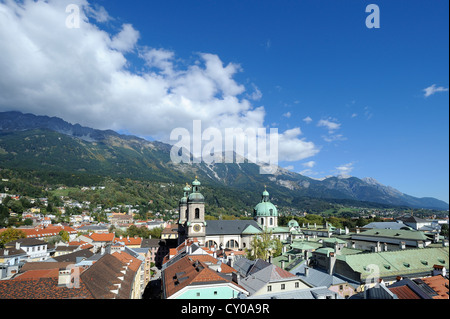 View of the historic district and the Cathedral of St. Jacob as seen from Stadtturm tower, northern Karwendel mountain - Stock Photo