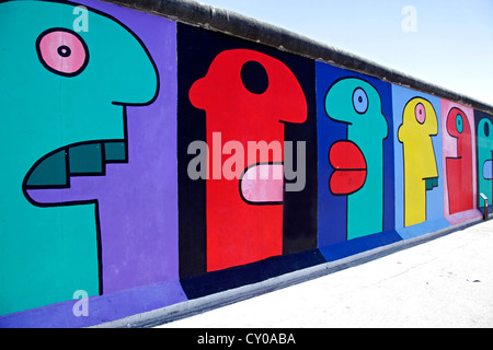 Remainder of the Berlin Wall, East Side Gallery, Berlin - Stock Photo