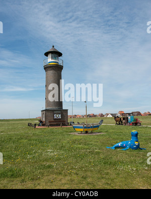 Memmertfeuer, lighthouse without significance for shipping, Juist, East Frisian island, Lower Saxony - Stock Photo