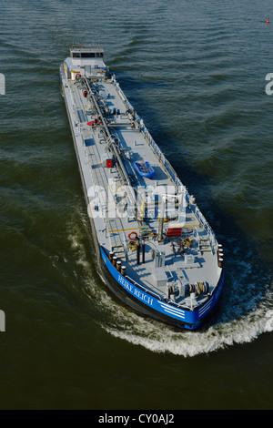 Heike Reich motor vessel, tanker, at full speed on the Rhine River, North Rhine-Westphalia - Stock Photo