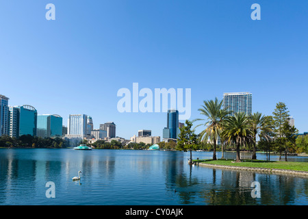 The downtown city skyline from Lake Eola Park, Orlando, Central Florida, USA - Stock Photo