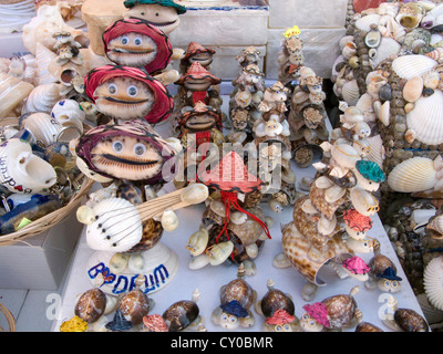Souvenirs from the sea in a tourist shop, Bodrum, Aegean, Turkey - Stock Photo