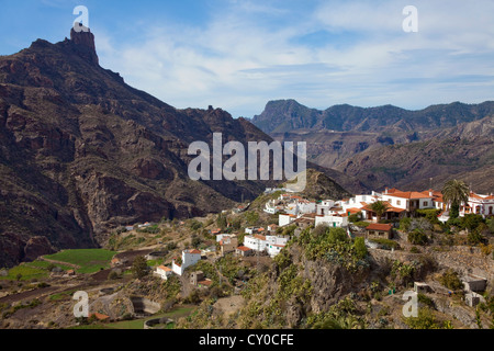 View towards the mountain village of Tejeda and the Roque Bentayga mountain, Gran Canaria, Canary Islands, Spain, - Stock Photo