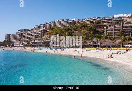 Beach and hotel complex of Anfi del Mar, Playa de la Verga, near Arguineguin, Gran Canaria, Canary Islands, Spain, - Stock Photo
