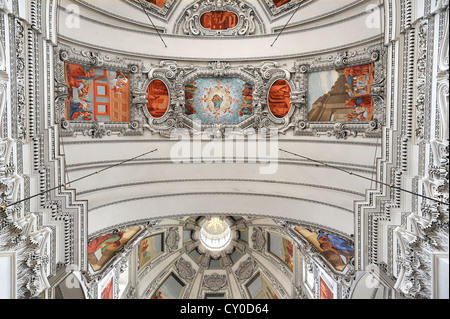 Inner vault with a partial view of the dome of Salzburg Cathedral, consecrated in 1628, Domplatz square, Salzburg - Stock Photo