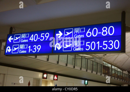 Boarding gate signs in Hong Kong airport