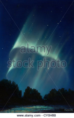Masses of rays form after an aurora's rayed bands break up. - Stock Photo